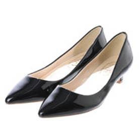 Simple Style 【Import】ミドルヒール エナメルポインテッドトゥパンプス (ブラック)