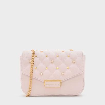 スタッズディテールキールトクロスボディバッグ / STUD DETAIL QUILTED CROSSBODY BAG (Pink)