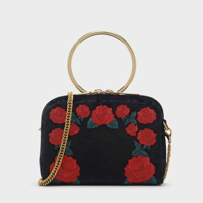 ローズエンブロイダリースリングバッグ / ROSE EMBROIDERY SLING BAG (Black)