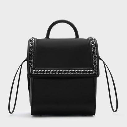 チェーンディテールプッシュロックショルダーバッグ / CHAIN-DETAIL PUSH-LOCK SHOULDER BAG(Black)