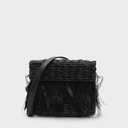 フェザードストロースリングバッグ / FEATHERED STRAW SLING BAG (Black)