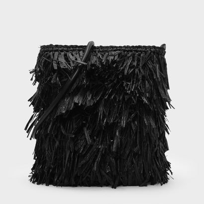 ラフィアディテールクロスボディバッグ / RAFFIA DETAIL CROSSBODY BAG (Black)