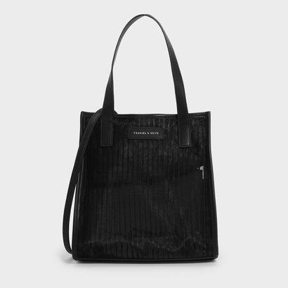 ストライプメッシュトップハンドルバッグ / STRIPED MESH TOP HANDLE BAG (Black)
