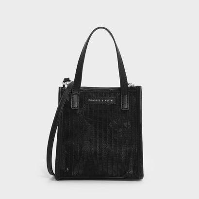 ストライプメッシュトップハンドルスモールバッグ / STRIPED MESH TOP HANDLE BAG (Black)