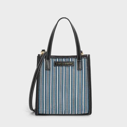 ストライプメッシュトップハンドルスモールバッグ / STRIPED MESH TOP HANDLE BAG (Blue)