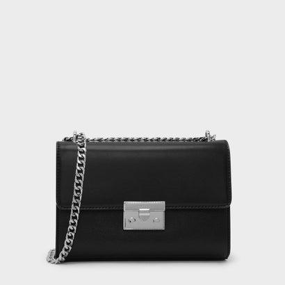 フロントフラッププッシュロックバッグ / FRONT FLAP PUSH-LOCK BAG (Black)