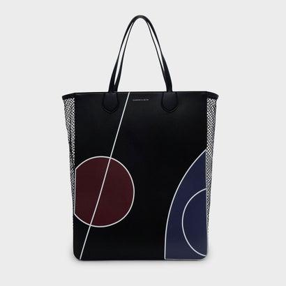 メッシュパネルトートバッグ / MESH PANEL PRINTED TOTE BAG (Black)