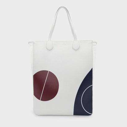 メッシュパネルトートバッグ / MESH PANEL PRINTED TOTE BAG (White)