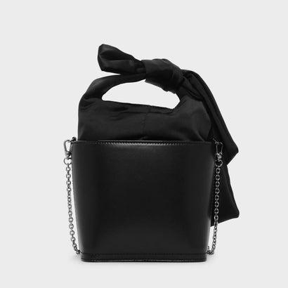 ボウディテール ハンドルバックル バッグ / BOW DETAIL HANDLE BUCKET BAG (Black)