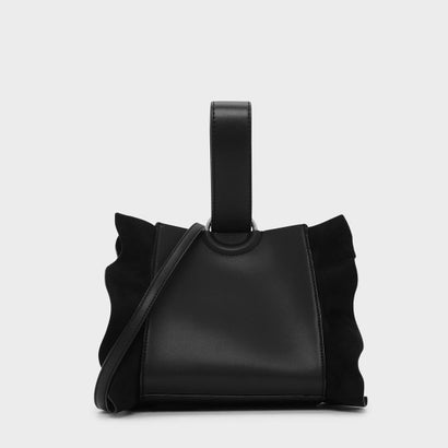 ラッフルディテールリスレットハンドルバッグ / RUFFLE DETAIL WRISTLET HANDLE BAG (Black)