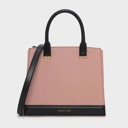 トップハンドル コントラスト バッグ / TOP HANDLE CONTRAST BAG (Blush)