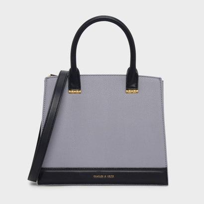 トップハンドル コントラスト バッグ / TOP HANDLE CONTRAST BAG (Lilac Grey)