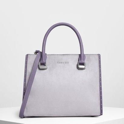 スタッズディテールトップハンドルバッグ / STUD DETAILS TOP HANDLE BAG (Lilac Grey)