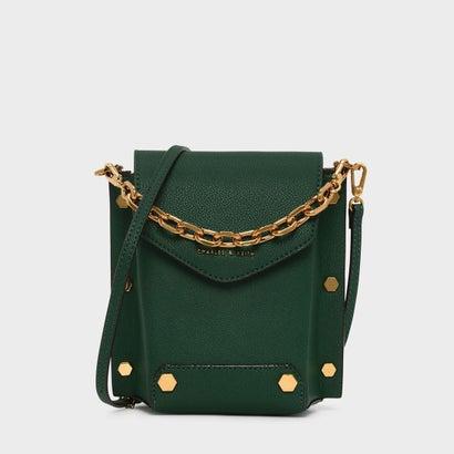 スタッズディテールチェーンハンドルバッグ / STUD DETAIL CHAIN HANDLE BAG (Dark Green)
