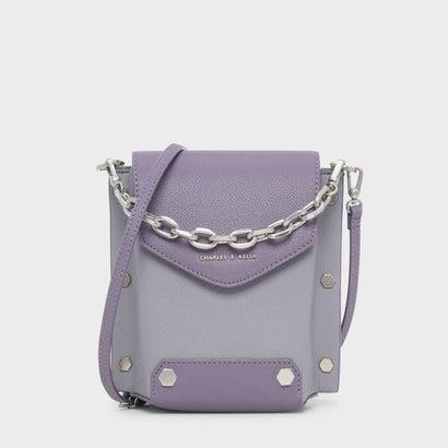 スタッズディテールチェーンハンドルバッグ / STUD DETAIL CHAIN HANDLE BAG (Lilac Grey)