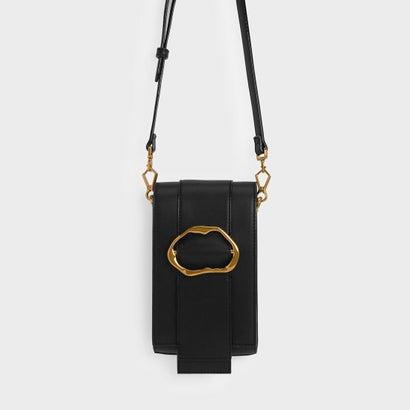 ゴールドバックル ディテール クロスボディバッグ / GOLD BUCKLE DETAIL CROSSBODY BAG (Black)