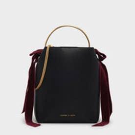 ベルベットボウディテールバックルバッグ / VELVET BOW DETAIL BUCKET BAG (Black)