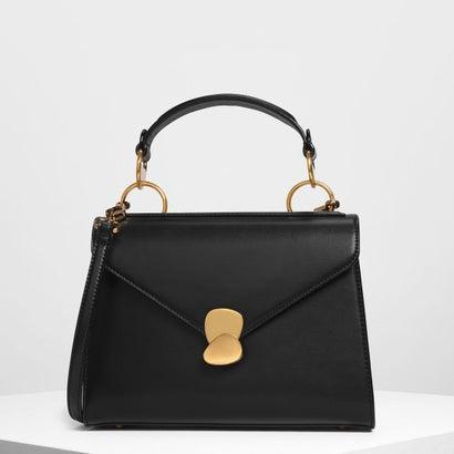 メタルディテール プッシュロック ハンドバッグ / Metal Detail Push-Lock Handbag (Black)