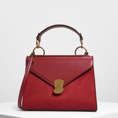 メタルディテールプッシュロックハンドバッグ / Metal Detail Push-Lock Handbag (Maroon)