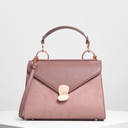 メタルディテールプッシュロックハンドバッグ / Metal Detail Push-Lock Handbag (Mauve)