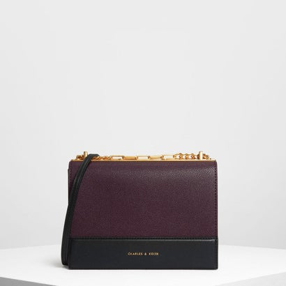コントラストディテールボクシークロスボディバッグ / Contrast Detail Boxy Crossbody Bag (Prune)