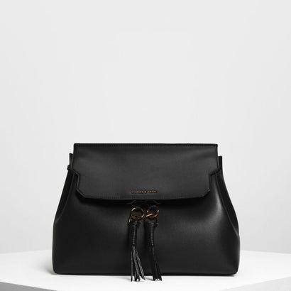 タッセルディテール フロントフラップ バックパック / Tassel Detail Front Flap Backpack (Black)