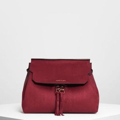 タッセルディテール フロントフラップ バックパック / Tassel Detail Front Flap Backpack (Maroon)