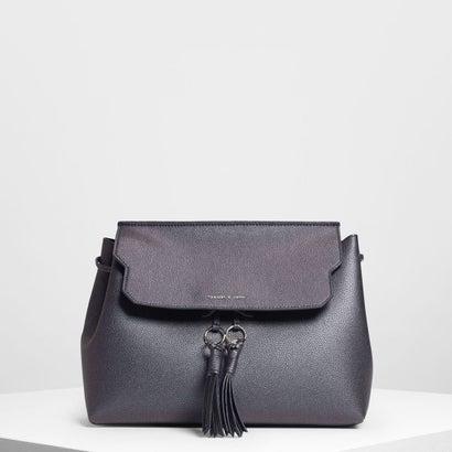 タッセルディテールフロントフラップバックパック / Tassel Detail Front Flap Backpack (Peacock)