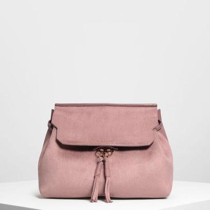 タッセルディテールフロントフラップバックパック / Tassel Detail Front Flap Backpack (Mauve)
