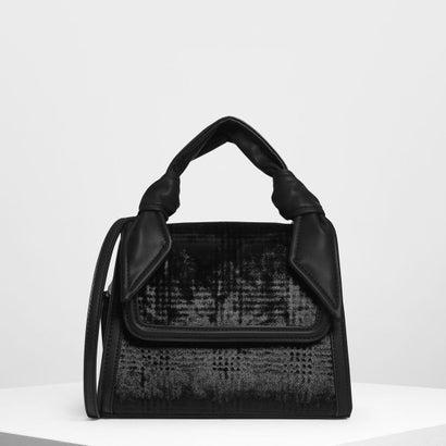 ベルベット フロントフラップ ハンドバッグ / Velvet Front Flap Handbag (Black)