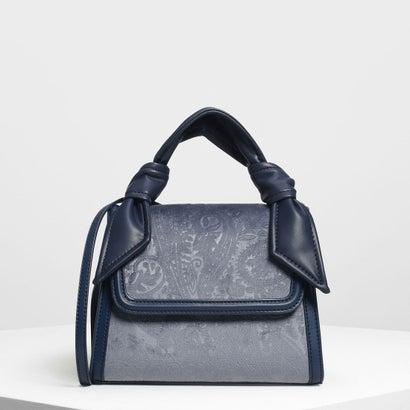 ベルベット フロントフラップ ハンドバッグ / Velvet Front Flap Handbag (Blue)