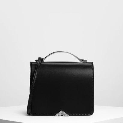 メタルアクセント フロントフラップ バッグ / Metal Accent Front Flap Bag (Black)