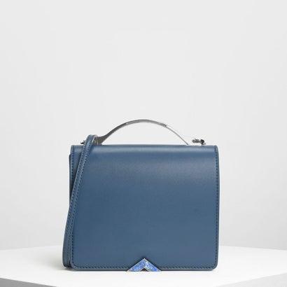 メタルアクセント フロントフラップ バッグ / Metal Accent Front Flap Bag (Blue)