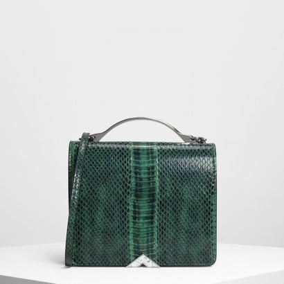 メタルアクセント フロントフラップ バッグ / Metal Accent Front Flap Bag (Green)