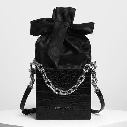 ノットボウ ボクシー バケツバッグ / Knotted Bow Boxy Bucket Bag (Black)