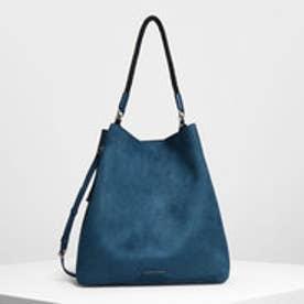タッセルディテール オーバーサイズ バケツバッグ / Tassel Detail Oversized Bucket Bag (Blue)