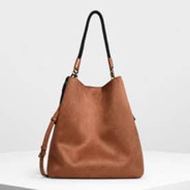 タッセルディテール オーバーサイズ バケツバッグ / Tassel Detail Oversized Bucket Bag (Cognac)
