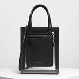 ジップ シースルー トートバッグ / Zipper See Through Tote Bag (Black)