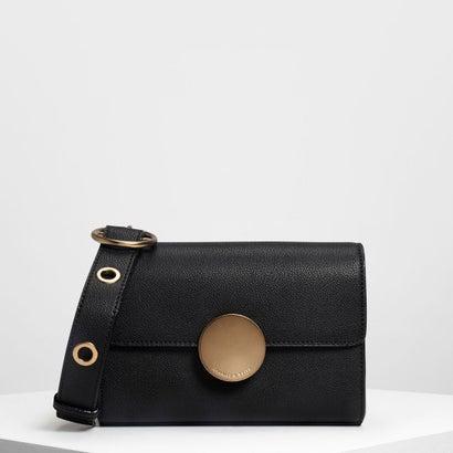 サーキュラープッシュロッククロスボディバッグ / Circular Push Lock Crossbody Bag (Black)