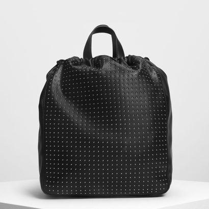 マイクロスタッズドローストリングバックパック / Micro Stud Drawstring Backpack (Black)