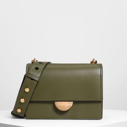 メタリックアクセントプッシュロックバッグ / Metallic Accent Push Lock Bag (Olive)