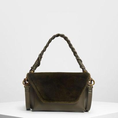 テクスチャーフロントフラップバッグ / Textured Front Flap Bag (Olive)