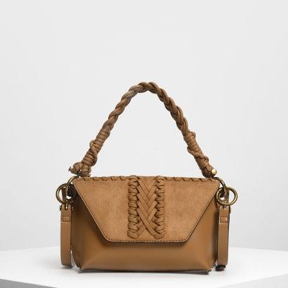 テクスチャーフロントフラップバッグ / Textured Front Flap Bag (Cognac)