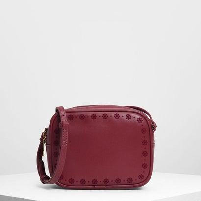 キッズフローラルエンブロイダリークロスボディバッグ / Kids Floral Embroidery Crossbody Bag (Red)