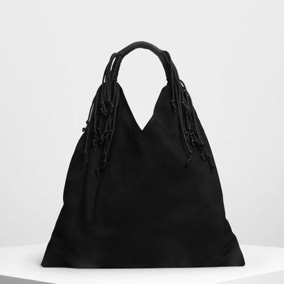 フリンジディテールスラウチバッグ / Fringe Detail Slouchy Bag (Black)