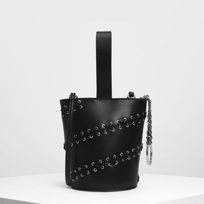 レースディテールバケツバッグ / Lacing Detail Bucket Bag (Black)