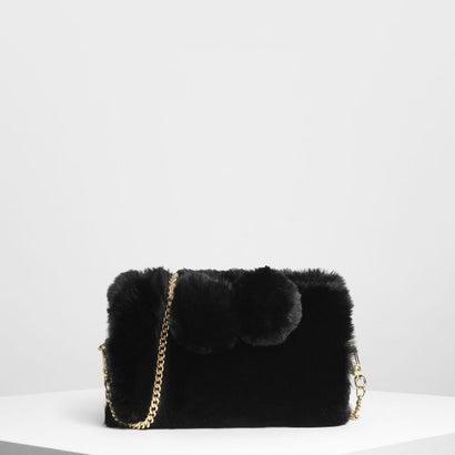 ファーリー ポンポン クロスボディバッグ / Furry Pom Pom Crossbody Bag (Black)