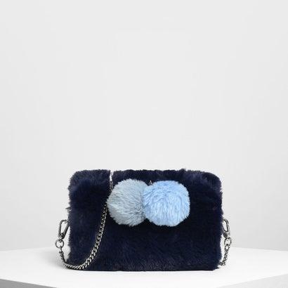 ファーリー ポンポン クロスボディバッグ / Furry Pom Pom Crossbody Bag (Blue)