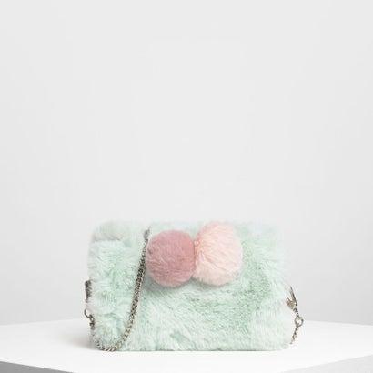 ファーリー ポンポン クロスボディバッグ / Furry Pom Pom Crossbody Bag (Green)