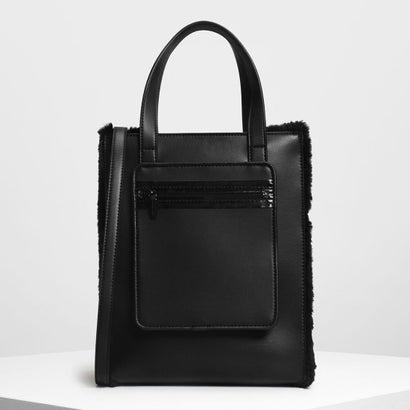ファーパネル トートバッグ / Furry Panel Tote Bag (Black)